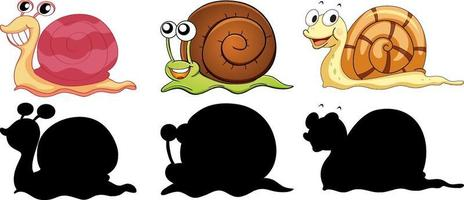 Set of different snails with its silhouette on white background vector