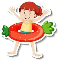 A sticker template of a girl with strawberry swimming ring vector