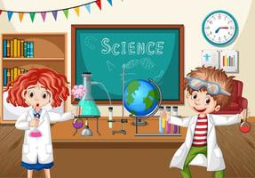 Two young scientists doing chemistry experiment in the classroom vector