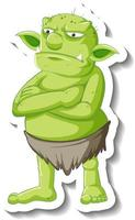 Green goblin or troll cartoon character sticker vector