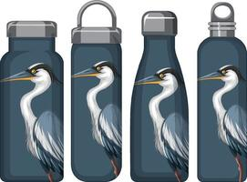 Set of different thermos bottles with blue pelican pattern vector