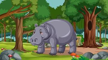 Hippopotamus in forest at daytime scene with many trees vector