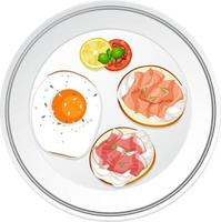 Top view of breakfast dish with bread and meats toppings vector