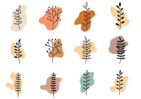 Boho Plant Art And Abstract Shape vector