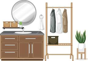 Sink counter with clothes hanger on white background vector