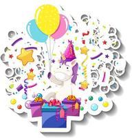 Happy unicorn with gift box and confetti rainbow vector