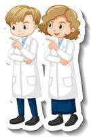 pegatina de personaje de dibujos animados con niños en bata de ciencia vector