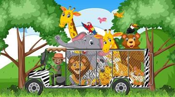 Zoo scene with happy animals in the cage car vector