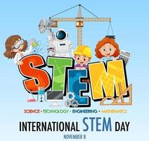 International STEM Day banner with kids cartoon character vector