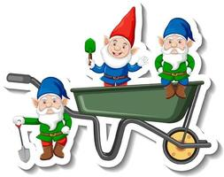 A sticker template with garden gnomes or dwarfs in wheelbarrow vector