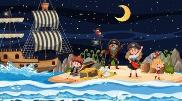 Treasure Island scene at night with Pirate kids vector