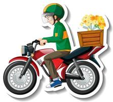 A sticker template with delivery man on motorcycle vector
