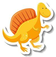 Cute yellow dinosaur cartoon character sticker vector