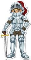 A knight in armor holding sword cartoon character sticker vector