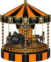 black and orange halloween carousel with black horses and old carriage vector