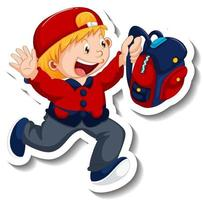 Sticker template with a boy holding backpack isolated vector