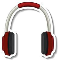 A sticker template with headphones isolated vector