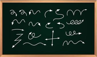 Different types of hand drawn curved arrows on black board vector