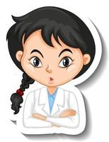 Portrait of a girl in science gown cartoon character sticker vector