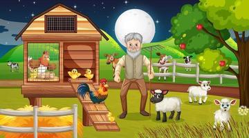 Farm at night scene with old farmer man and farm animals vector