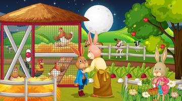 Farm at night scene with rabbit family and farm animals vector