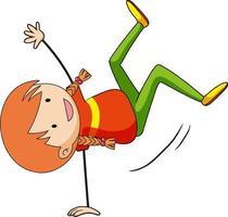Happy girl enjoy dancing doodle cartoon character vector