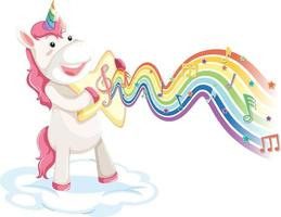 Unicorn standing on the cloud with melody symbols on rainbow wave vector