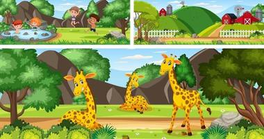 Set of outdoor panoramic landscape with cartoon character vector