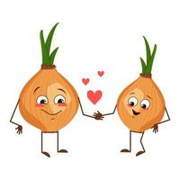 Cute onion characters with love emotions, face, arms and legs vector