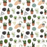 Realistic set of succulents and accessories pattern vector