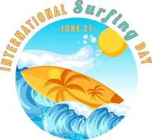 International Surfing Day banner with a surfboard in water wave vector