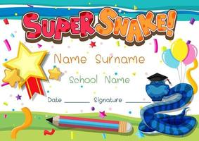 Diploma or certificate template for school kids with super snake vector