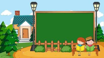 Empty blackboard in nature scene with two kids reading book vector