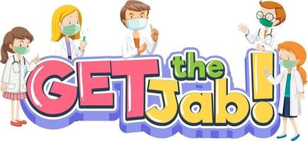Get the Jab font with many doctors wear medical cartoon character vector
