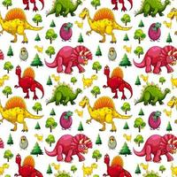 Seamless pattern with various cute dinosaurs and nature element vector