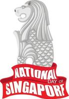 National Day of Singapore banner with Merlion vector