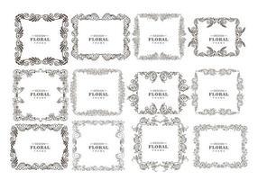 Hand drawn ornaments, decorative floral frame set vector