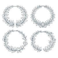 Hand drawn circular ornaments floral frame set design vector