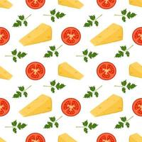 Seamless pattern with cheese, tomatoes and parsley. print for pizza vector