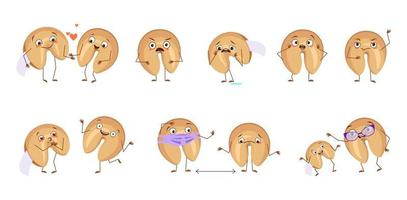 Set of cute characters chinese fortune cookies with emotions, face vector
