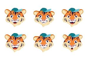 A set of tiger with different emotions vector