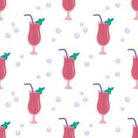 Seamless pattern with glasses of pink cocktail with tubes, mint leaves vector