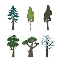 Green and brown tree symbol of nature, forest plants vector
