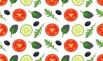 Seamless vegetables pattern with tomato, cucumber, leave vector