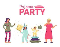 Pajama party with kids, mom and grandmother. Family holiday vector