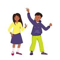 Happy smiling African Americans kids dancing vector