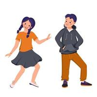 A boy in a hoodie and jeans and a girl in a skirt and shirt vector