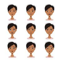 facial expressions avatars of African American woman with dark hair vector