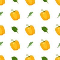 Seamless pattern with yellow peppers, arugula and basil vector