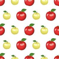 Seamless pattern with red and green apples and leaves vector